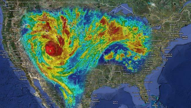 Image of Yasi superimpoed over continental US